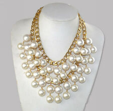Hot Sale 2 Broke Girls Caroline Inspired Cream Beads Gold color Chain Necklace