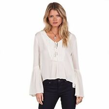 2016 NWT WOMENS VOLCOM SALTY FREE TOP $55 S vintage white long sleeve blouse