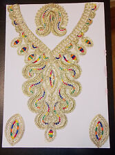 gold multi yoke Lace Embroidered Kameez Gala collar applique motif Indian Asian