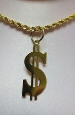 20 INCH 14 KT GOLD PLATED  3 MM ROPE WITH A $  DOLLAR SIGN PENDANT NECKLACE