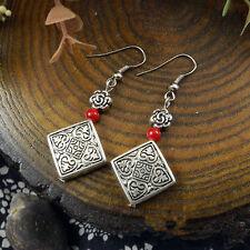 Fashion Jewelry Silver Ear Wire Tibetan Red Bead Charm Dangle Drop Earrings