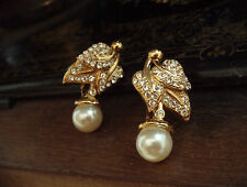 Vintage Crystal Leaves & Pearl Gold Plated Clip-On Earrings