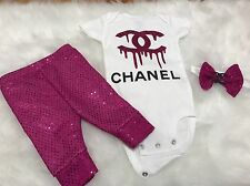 Baby Girl, Size 0-3 Months, Love Pink Outfit, 3pc Set, Clothes Lot
