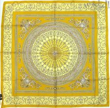 "VERSACE lemon yellow SIRENS & MEDUSA Myth Baroque 34"" large scarf NWT Authentic!"