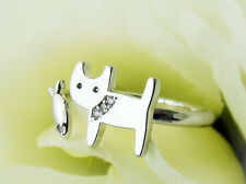 Kitty Cat & Fish Anillo Talla N