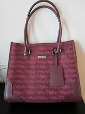 MARY KAY Large TOTE CASE BAG Burgundy Mauve Handles Cloth Leather EUC FREE Ship