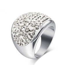 Fashion Crystal Rings Multicolor Rhinestone Stainless Steel Wedding Women Rings