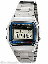 Casio A158WA-1 Digital Classic Stainless Steel Watch Alarm Stopwatch NEW Silver