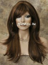 Long Human Hair Blend Wig Brown Mix Flip Out Straight Heat Safe WBMIS 4-27-30