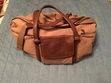 Retro Woolrich Canvas and Brown Leather Travel Carry-On Duffle Bag Luggage