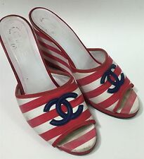 Vtg CHANEL Pink White Logo CC Stripe Wedge Heels Sandals Shoes Size 39.5