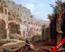 ROMAN EMPIRE GLADIATOR COLOSSEUM RUINS ROME ITALY PAINTING ART REAL CANVAS PRINT