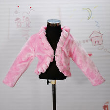 New Girls Pink Faux Fur Long Sleeves Coat Bolero 4-5 Years