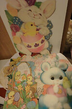 VINTAGE-Easter / Spring- Die-Cut Cardboard Decorations- Lot of 6