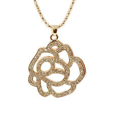|SALE| 18k Gold Plated White Crystal Rose Long Chain Pendant Necklace Chain