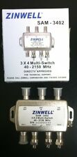 ZINWELL 3X4 MULTI-SWITCH QUAD OUTPUT SAM-3402 DIRECTV APPROVED