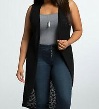Torrid Knit Duster Vest Top Shirt Black 3 3X 22 24 #5447