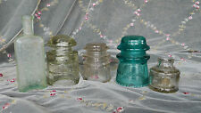 lot of vintage glassware, bottles  and glass electric Insulators