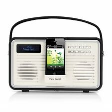 View Quest Retro Mobil DAB+ FM Radio Mit iPhone Dock Station System Schwarz