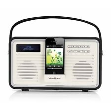 View Quest Retrò Portatile Dab + Radio FM con iPhone Docking Station Sistema NERO