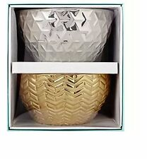 Modern Expressions Stoneware Mini Bowls 4 Inch Metallic Gold & Silver Tone