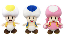 Set of 3 - Sanei Super Mario All Star Yellow Toad, Blue Toad & Toadette Plush