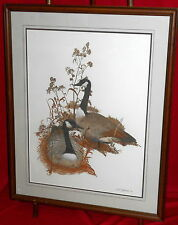 Superb Framed Watercolor Painting - Canada Geese - Lewis T. Johnson