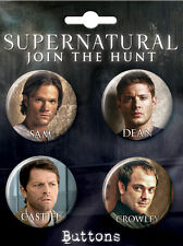 Supernatural (TV Series) Button/Pin Set of 4 - Sam, Dean, Castiel & Crowley