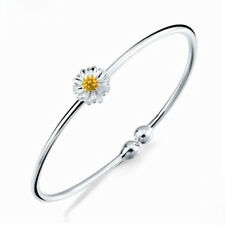 Women Silver Plated Daisy Flower Bangle Sunflower Bracelet Fashion Jewelry 1pcs