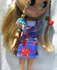 Blythe Doll Outfit Clothing Flower Print Blue Dress