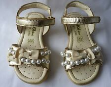 Immaculate Primigi Stunning Gold Sandals with Pearls & Bows, Size 24, Worn Once!