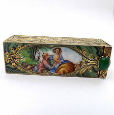ANTIQUE ITALIAN 800 GILDED SILVER HAND PAINTED ENAMEL LIPSTICK HOLDER COMPACT