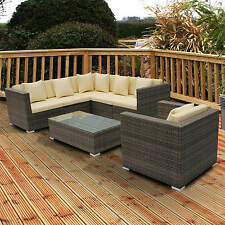 RATTAN GARDEN FURNITURE SOFA DINING TABLE SET CONSERVATORY OUTDOOR ALL WEATHER!!