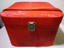 Vintage Retro Air Lander Hat Wig Box Travel Case Carry On Luggage Bag Red Vinyl