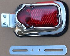 Used Chrome 6 Volt Tombstone Tail Light Vintage Style Unsure If Works (U-1630