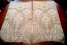 "2 Antique VINTAGE Hand Crocheted IVORY FILET LACE CURTAIN PANELS 15""x30"""