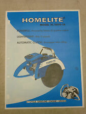 VINTAGE HOMELITE GAS CIRCULAR SAW SPEC SHEET SALES BROCHURE, Model: XL 100G-1A
