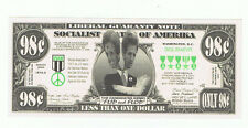 2004 John Kerry Novelty Bill Fun Money Note Political Flip Flop Liberal Two Face