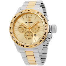 TW Steel CB54 Men's XXL Chronograph Stainless Canteen Two-Tone Gold Dial Watch