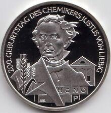 10 Euro Gedenkmünze 200. Geb. Justus v. Liebig 2003 Polierte Platte Silber 925/-