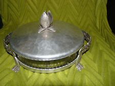 Vintage HAMMERED ALUMINUM and GLASS CANDY DISH w/LID in STAND w/HANDLES