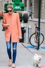 Celebrity! ZARA Peach Coral Coat Jacket with Gathering On The Shoulder Size:M