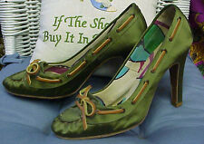 MARC JACOBS designer satin.leather trimmed heels/pumps, sz. 39 IT; 8 1/2-9 US