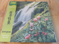 NEW SEALED SPRINGBOK JIGSAW PUZZLE 1500 PC PEACEFUL WATERFALL PINK FLOWERS