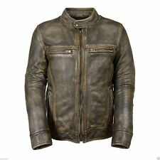Men's Biker Wax Distressed Cafe Racer Motorcycle Leather Jacket -Free Gift Offer