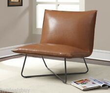 Modern Side Accent Pillow Chair Leather Mid Century Lounge Chic Living Room Seat