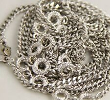 70s VINTAGE Jewelry MONET SILVER METAL STATION CHAIN OPERA LENGTH NECKLACE - 52""