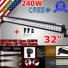 CREE 32INCH 240W LED WORK LIGHT BARS COMBO BEAM OFFROAD UTE 10-30V 4WD FOR CHEVY