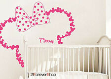 Wall Decal Vinyl Sticker Baby Name Head Ears Minnie Mouse Kids Nursery r1177