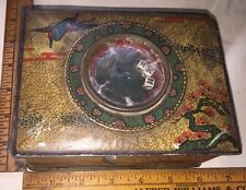 Antique Asian Tin Box With A Dice Game In Lid Herons Cherry Blossom Tree RARE!!!